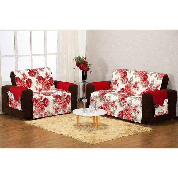Imagem de Protetor de Sofá 3 e 2 Lugares Estampado Floral / Vermelho - Aquarela Enxovais