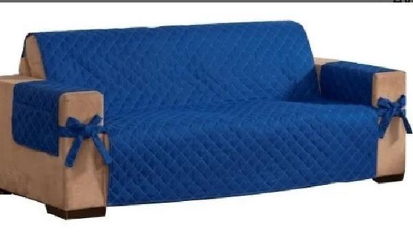 Imagem de Protetor de sofá 3 lugares avulso matelado com laço e porta controle azul