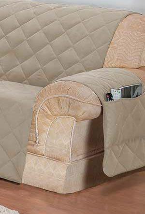 Imagem de Protetor de sofá 3 lugares face unico confort castor