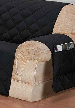 Imagem de Protetor de sofá 3 lugares face unico confort preto