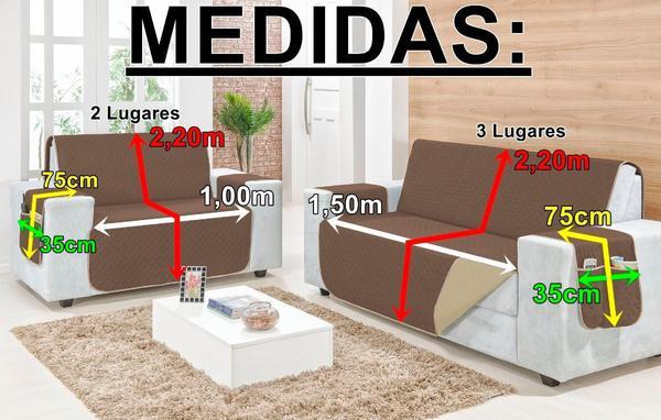 Imagem de Protetor De Sofa Dupla-face 2 e 3 Lugares Retratil com Porta Objetos