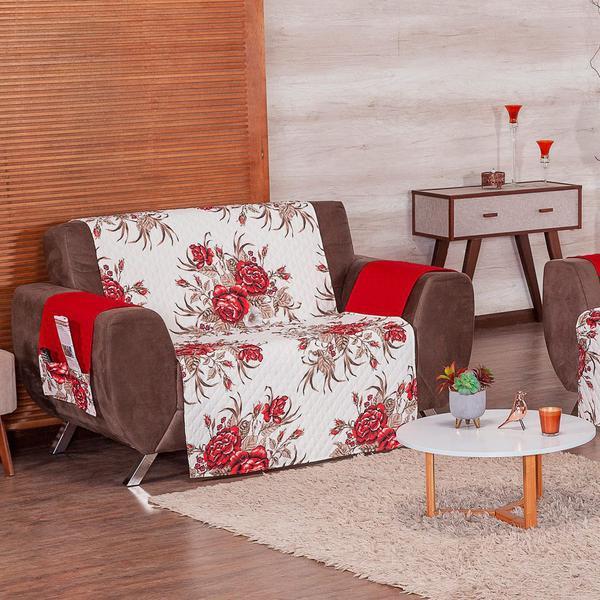 Imagem de Protetor de Sofá Estampado 3 e 2 Lugares 100% Poliéster 2 Peças Rosas Vermelho e Marrom