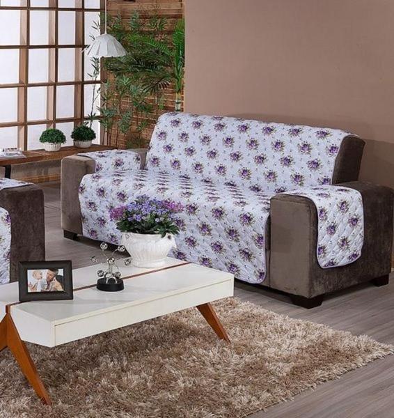 Imagem de Protetor De Sofá Estampado 4 Lugar Lilas Floral