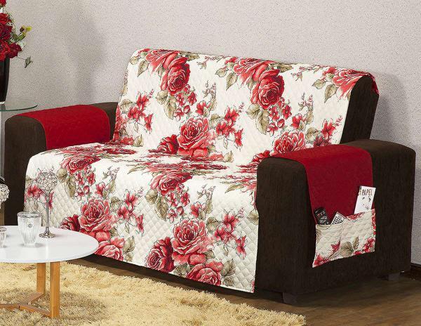 Imagem de Protetor Estampado Sofá Floral Vermelho com 2 peças