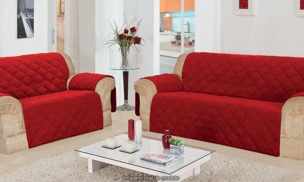 Imagem de Protetor Sofa 2 Lugares C/ Porta Controle Vermelha  Guerreiro