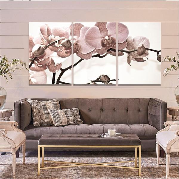 Imagem de Quadro Decorativo Kit 120x60 Orquídea Rosa Flor Parede Sala