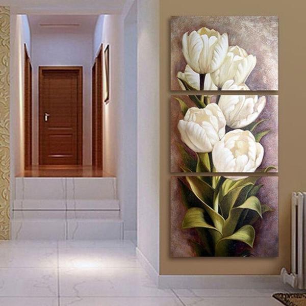 Imagem de Quadro Decorativo Mosaico 3 Peças Tulipas Brancas.. - Neyrad