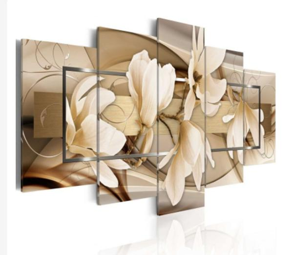 Imagem de Quadro mosaico 5 peças flor marrom abstrato moderno painel para decoração de ambientes