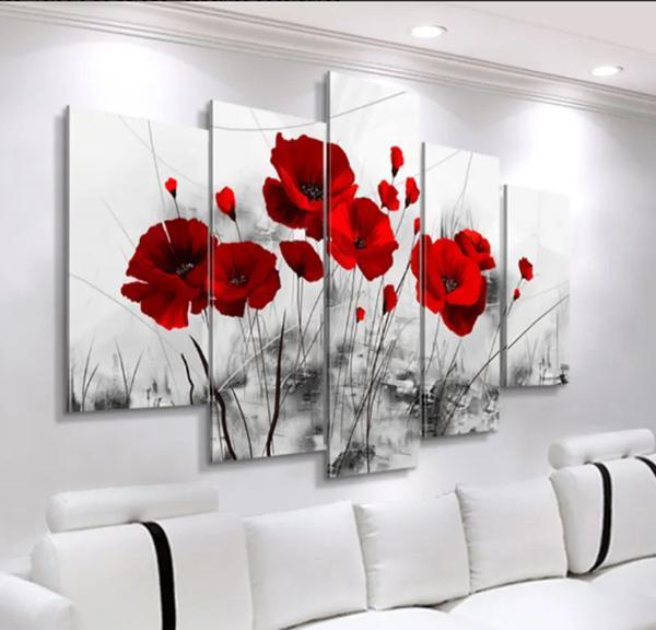 Imagem de Quadro mosaico 5 peças flores vermelhas abstrato moderno painel para decoração de ambientes