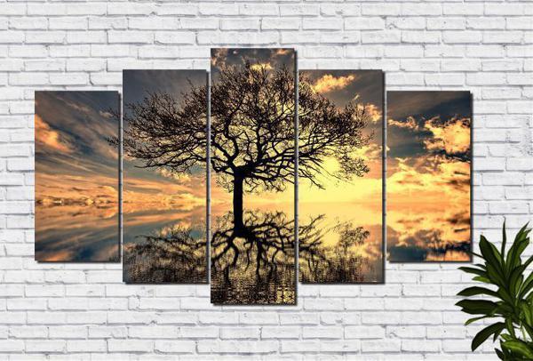 Imagem de Quadros Decorativos Arvore da Vida para Sala 5 peças
