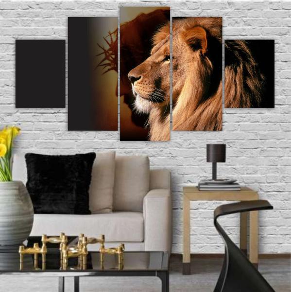 Imagem de Quadros Decorativos Mosaico MDF Leão de Judá Jesus 115x60cm