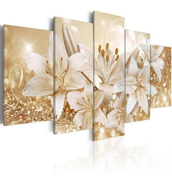 Imagem de Quadros Flores Lirios Com Efeito Dourados Brilhantes 5 Peças