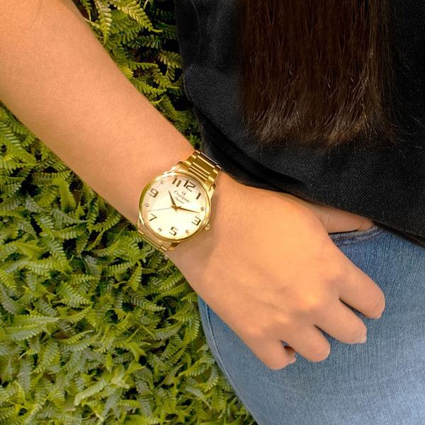 Imagem de Relógio Champion Feminino Dourado Analógico Prova Dagua CN26028W + Kit Colar e Brincos