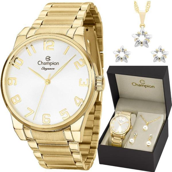 Imagem de Relógio Champion Feminino Elegance Dourado CN27652W + Kit Colar e Brincos
