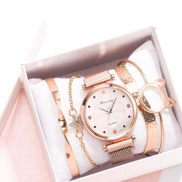 Imagem de Relógio de Pulso Quartz Feminino De Pulseira Magnética Dourado Rosê e Kit de Pulseiras