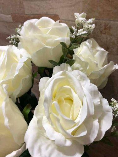Imagem de Rosa Artificial X6 Flores Branca Off White
