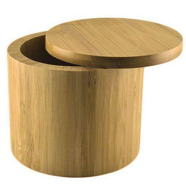 Imagem de Saleiro De Cozinha Bambu Com Tampa Porta Sal Redondo