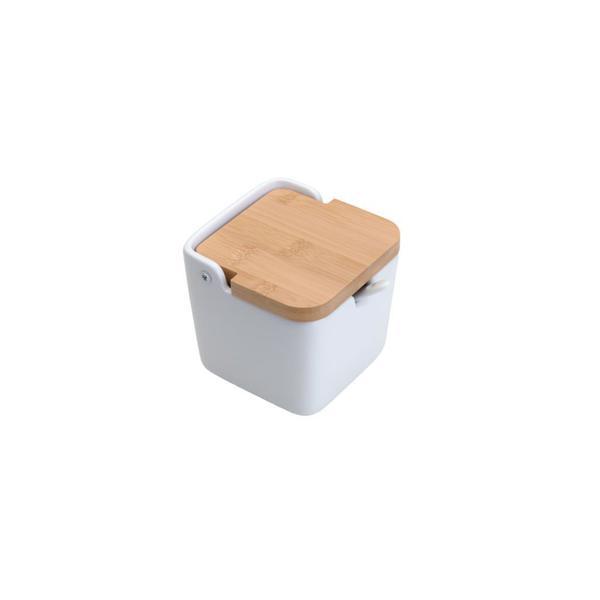 Imagem de Saleiro em cerâmica com tampa de madeira e colher Lyor Bianco 400ml 10x10cm