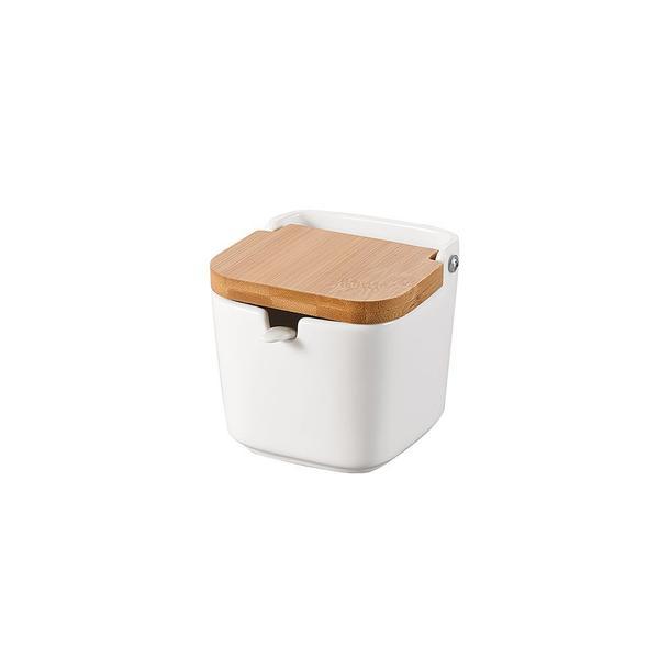 Imagem de Saleiro em porcelana com colher e tampa Lyor Bianco 9x8,5cm