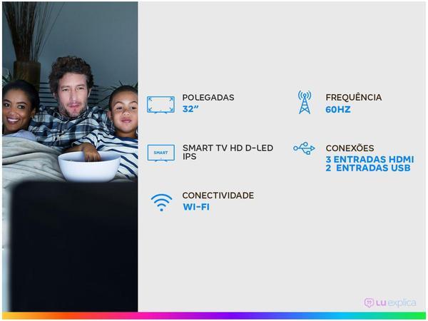 "Imagem de Smart TV HD D-LED IPS 32"" Multilaser TL020 Wi-Fi - 3 HDMI 2 USB"
