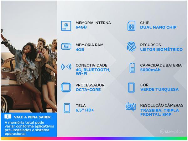 "Imagem de Smartphone Motorola Moto G9 Play 64GB Verde - Turquesa 4GB RAM 6,5"" Câm. Tripla + Selfie 8MP"