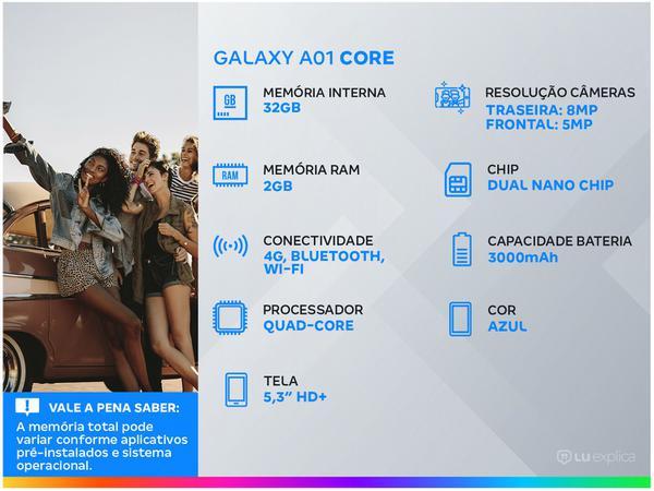 Imagem de Smartphone Samsung Galaxy A01 Core 32GB Preto - Processador Quad-Core 2GB RAM Câm.8MP + Selfie 5MP