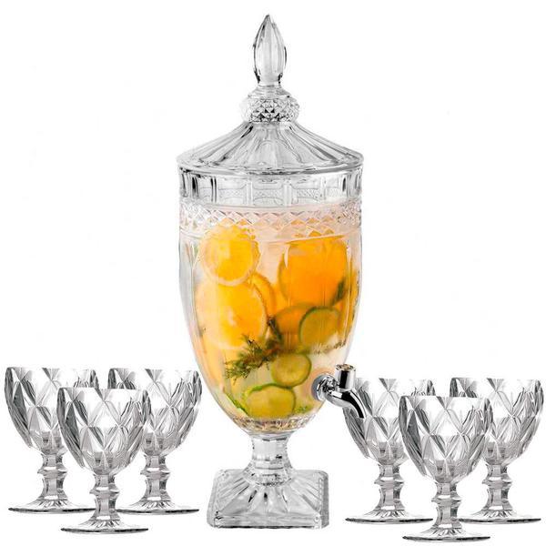 Imagem de Suqueira Cristal 3,0L + 6 Taças Água Diamante Kit 7 pçs