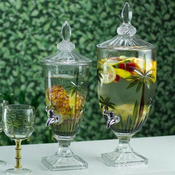 Imagem de Suqueira de cristal ecológica com pé e tampa palm tree - 2 litros - rojemac