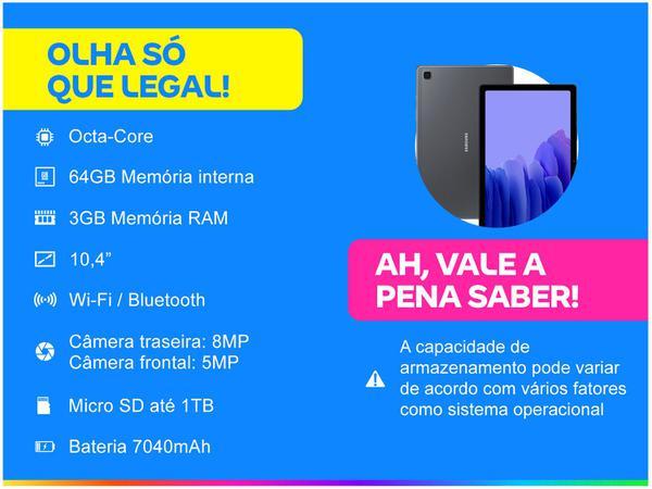 "Imagem de Tablet Samsung Galaxy Tab A7 10,4"" Wi-Fi 64GB - Android Octa-Core Câm. 8MP + Selfie 5MP"