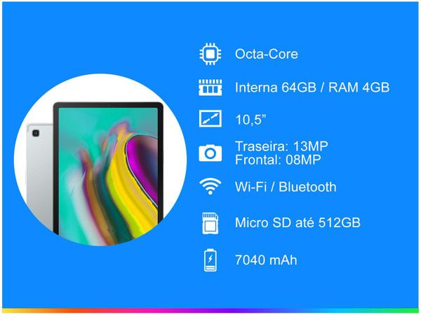 "Imagem de Tablet Samsung Galaxy Tab S5e T725 64GB 10,5"" 4G - Wi-Fi Android 9.1 Octa-Core Câm. 13MP Selfie 8MP"