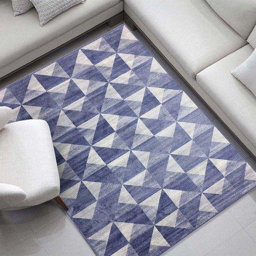 Imagem de Tapete Belga Geométrico Azul Antigo