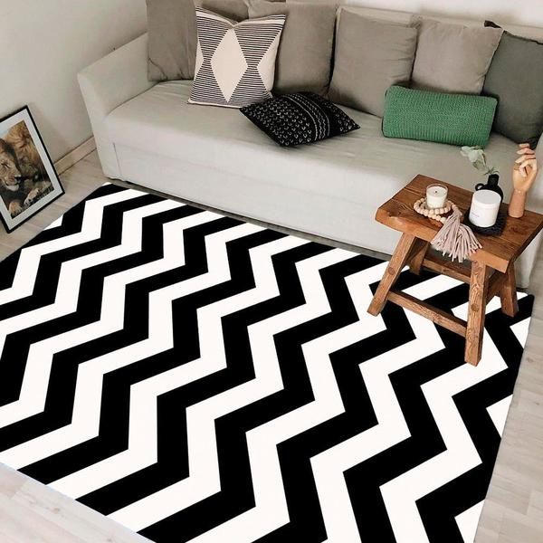 Imagem de Tapete Chevrom para Sala ou Quarto Antiderrapante Preto e Branco 100x140cm Sua Casa Moderna Casa Dona