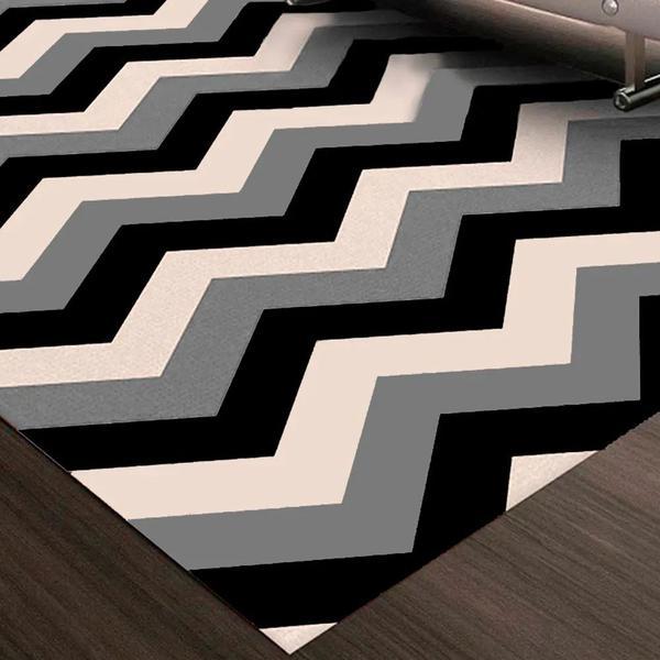 Imagem de Tapete Chevrom para Sala ou Quarto Antiderrapante Preto e Branco 140x200cm Sua Casa Moderna Casa Dona