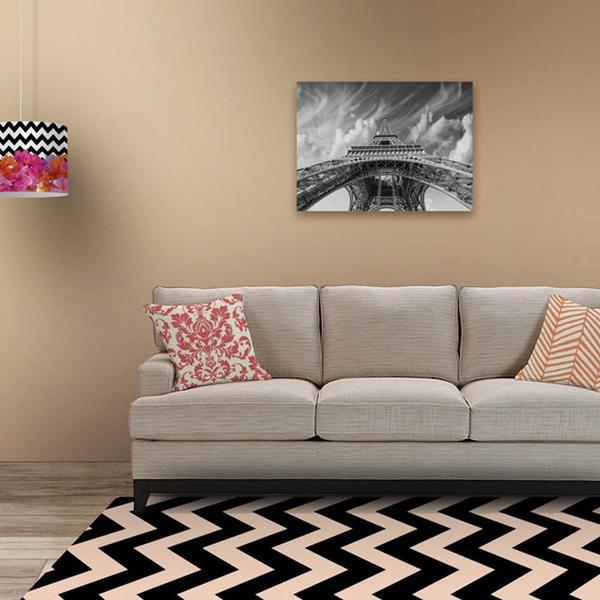 Imagem de Tapete Chevrom Preto com Bege Casa Dona Antiderrapante 140 x 200 cm