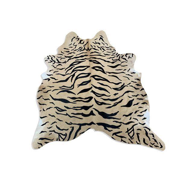 Imagem de Tapete de Couro de Boi Natural Inteiro 1,65x2,00m Serigrafado Tigre com Bege