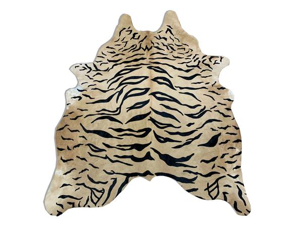 Imagem de Tapete de Couro de Boi Natural Inteiro 1,65X2,10m Serigrafado Tigre com Bege