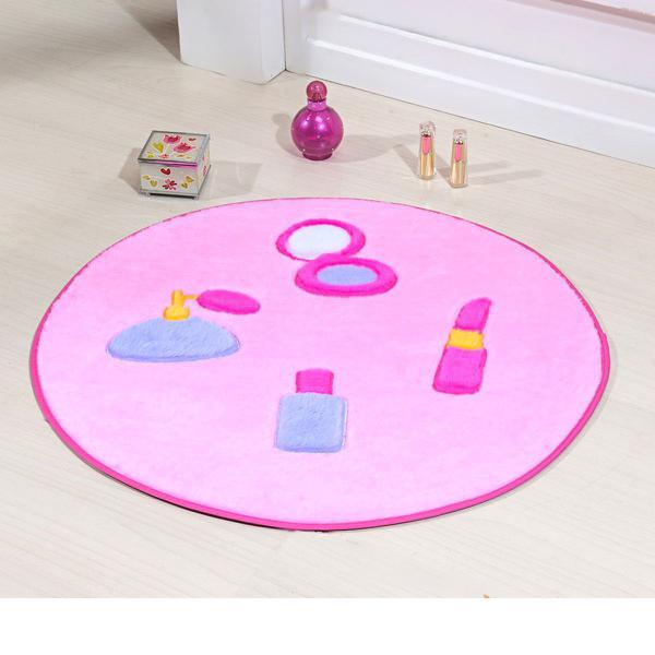 Imagem de Tapete de Criança Pelúcia Menina Maquiagem Rosa 65cm x diâmetro Antiderrapante