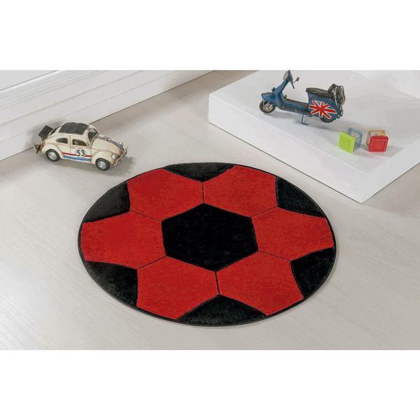 Imagem de Tapete de Pelúcia com Base Antiderrapante para Quarto de Meninos Formato Bola de Futebol 65cm