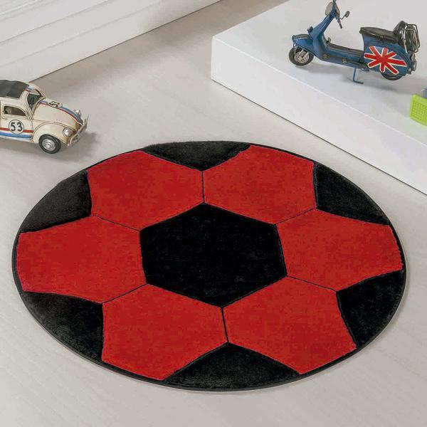 Imagem de Tapete de Pelúcia Infantil Antiderrapante Redondo Bola de Futebol para Quarto Vermelho e Preto
