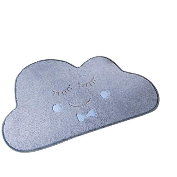 Imagem de Tapete de Pelúcia para Quarto de Bebê Antiderrapante Nuvem 1,38m x 86cm Tecido Pelúcia Bordada