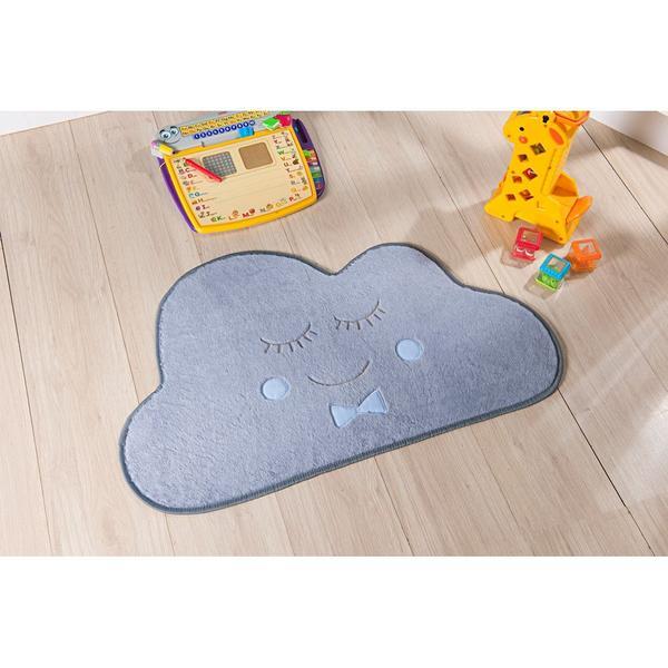 Imagem de Tapete Decorativo para Quarto Infantil Formato Nuvem Antiderrapante e Tecido Pelúcia
