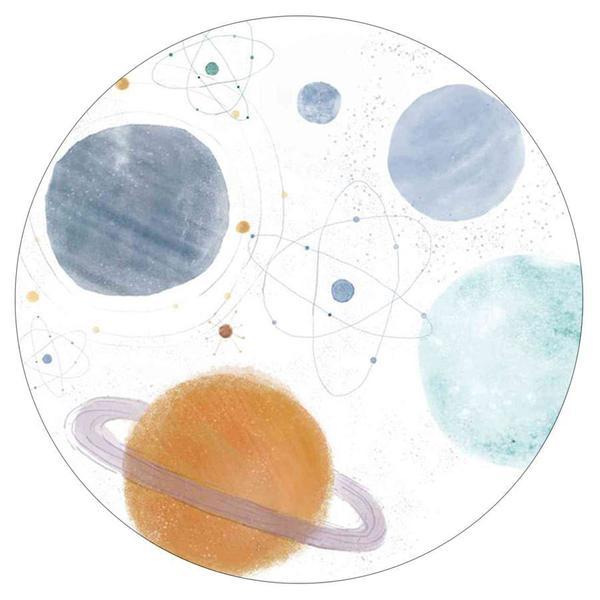 Imagem de Tapete Estampado Vinílico Planetas Redondo 100cm