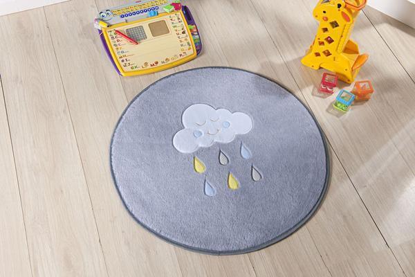 Imagem de Tapete Formato Baby Antiderrapante Chuva de Benção Cinza e Azul