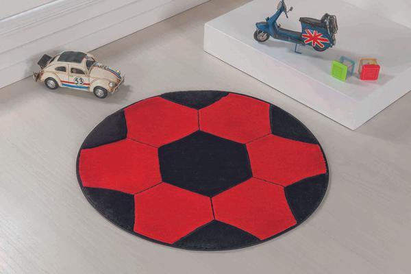 Imagem de Tapete Formato com Antiderrapante Bola - 65 cm - Vermelho e Preto
