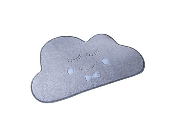 Imagem de Tapete Formatos Baby Nuvem 82cm x 52cm  Cinza Azul