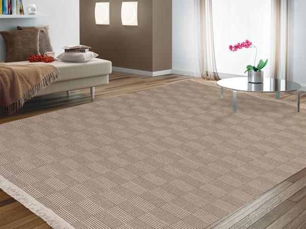Imagem de tapete grande 100% algodão 2,00m x 1,40m  , tapete sala quarto antialérgico lavável ATENAS BEGE /CRU
