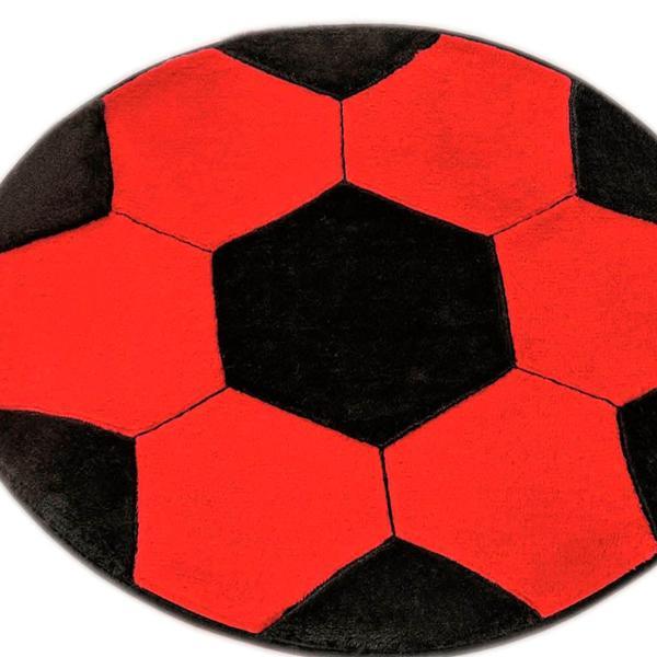 Imagem de Tapete Infantil de Pelúcia Antiderrapante Grande Bola Futebol Vermelho e Preto