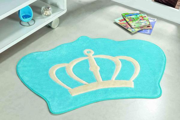 Imagem de Tapete Infantil De Pelúcia Coroa Principe Azul Turquesa
