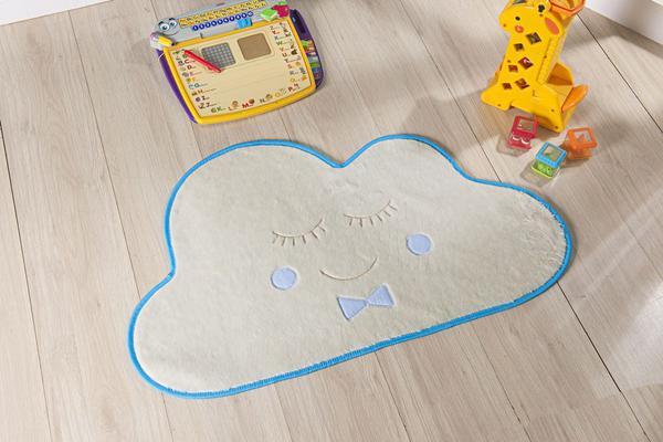 Imagem de Tapete Infantil Para Quarto Formato Nuvem Azul Turquesa