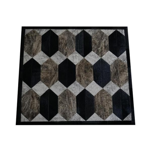 Imagem de Tapete Kromática costurado hexágonos marrom, bege e preto 0,95x0,95 m